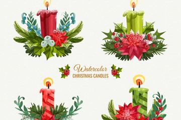 4款彩绘圣诞节蜡烛矢量素材