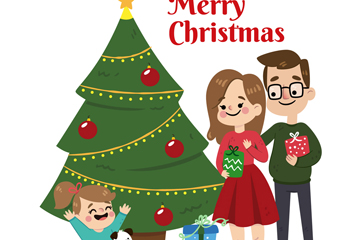 可爱圣诞节三口之家矢量素材