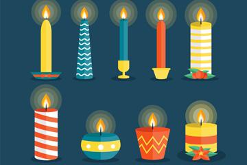 9款彩色圣诞蜡烛矢量素材