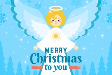 可爱金发白衣圣诞天使矢量图