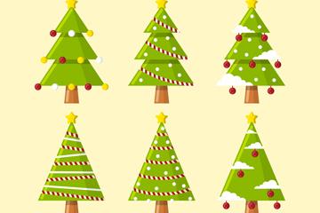 6款创意绿色圣诞树矢量素材