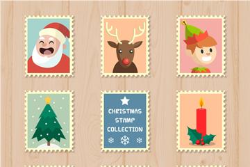 8款可爱圣诞元素邮票矢量素材