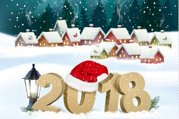 2018年雪地房屋风景矢量素材