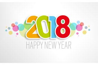 彩色2018纸质艺术字矢量素材