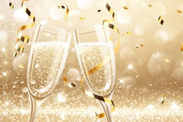 金色丝带和香槟酒矢量素材