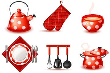9款可爱红色厨房用品矢量素材