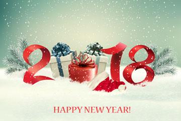 2018年雪地礼盒和彩灯贺卡矢量素材