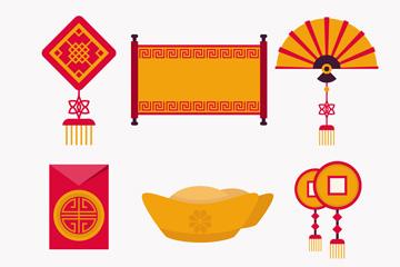 6款创意春节元素图标矢量素材