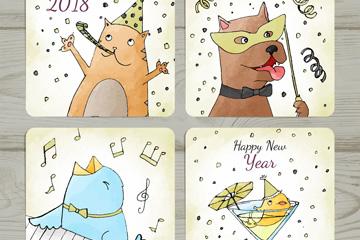 4款彩绘动物新年快乐卡片矢量图