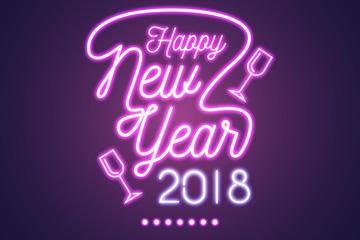 紫色新年快乐霓虹灯艺术字矢量图