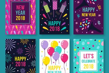 6款彩色新年快乐卡片矢量素材