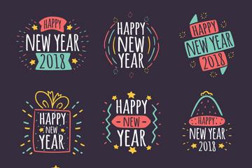 9款彩绘新年快乐艺术字矢量图