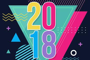 2018年抽象三角形贺卡矢量素材