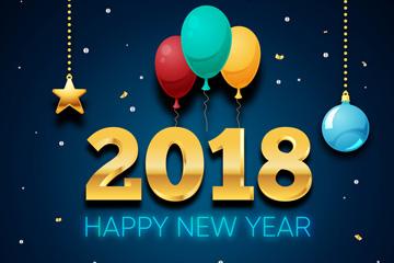 2018年彩色气球新年艺术字矢量图