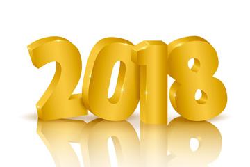 金色立体2018艺术字矢量素材