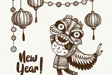 手绘新年舞狮子的孩子矢量素材