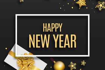 2018年金色礼物和装饰物贺卡矢量