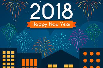 2018年新年城市和礼花贺卡矢量素