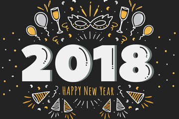 彩绘2018年艺术字和派对元素矢量