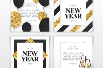 4款创意2018年新年快乐卡片矢量