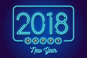 蓝色2018年霓虹灯艺术字矢量图