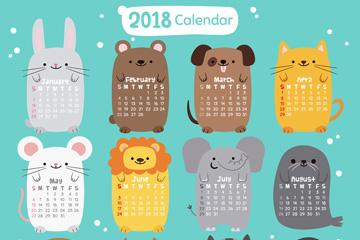 2018年可爱动物年历矢量梦之城娱乐