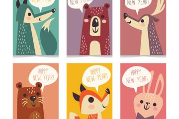 6款彩色动物新年快乐卡片矢量素