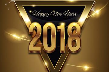 2018年金色三角形贺卡矢量素材