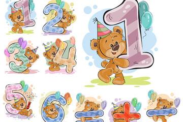 10款彩绘熊数字艺术字矢量图