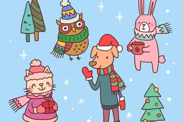 4款可爱冬装动物矢量素材