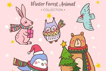5款可爱冬季动物矢量素材