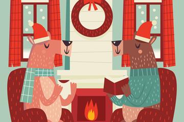创意坐在客厅喝茶的2只驯鹿矢量图