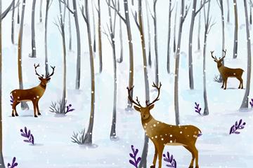 水彩绘森林里的3只驯鹿矢量图