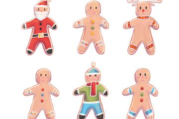 6款彩绘姜饼人设计矢量素材