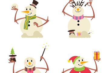 4款创意白色雪人矢量w88优德