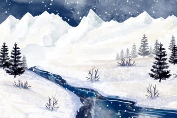水彩绘冬季河流风景矢量素材