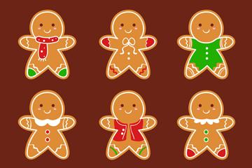 6款可爱小姜饼人矢量素材