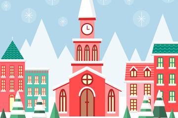 彩色冬季小城风景矢量素材