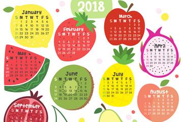 2018年可爱水果年历矢量素材