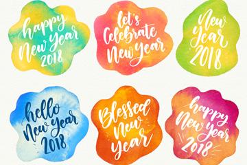 6款混色水彩墨迹新年快乐标签矢量图
