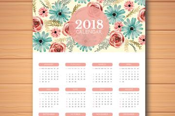 2018年水彩绘花卉年历矢量素材