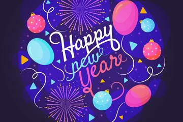 2018年彩色气球和烟花贺卡矢量图