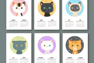 2018年可爱猫咪年历卡片矢量图