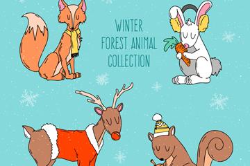 4款手绘冬季闭眼睛森林动物矢量素材