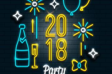2018年新年快乐霓虹灯贺卡矢量图