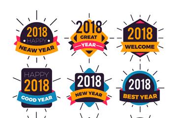 9款彩色新年快乐标签矢量素材