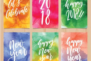 6款水彩绘新年卡片矢量素材