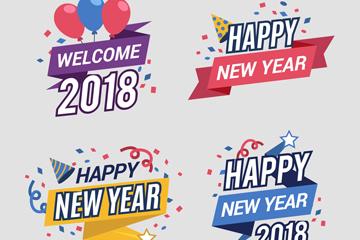 4款彩色2018年新年标签矢量素材