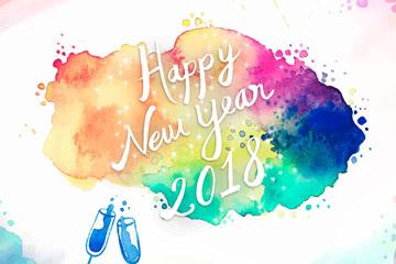 水彩绘新年香槟贺卡矢量素材
