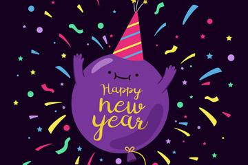 紫色气球新年贺卡矢量素材